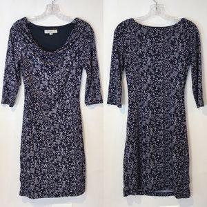 Ann Taylor LOFT | cowl neck printed knit dress XS